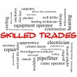 图库照片: Skilled Trades Word Cloud Concept in red caps