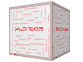 Skilled Trades Word Cloud Concept on a 3D cube Whiteboard — Stock Photo