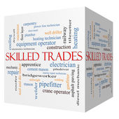 Skilled Trades 3D cube Word Cloud Concept — Stock Photo