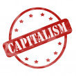 Stock Photo: Red Weathered Capitalism Stamp Circle and Stars