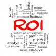 Stock Photo: ROI Word Cloud Concept in red caps