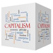 Capitalism 3D cube Word Cloud Concept — Stock Photo