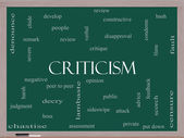 Criticism Word Cloud Concept on a Blackboard — Stockfoto