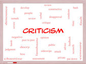 Criticism Word Cloud Concept on a Whiteboard — Zdjęcie stockowe