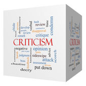 Criticism 3D cube Word Cloud Concept — Stock Photo