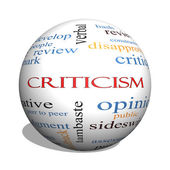 Criticism 3D sphere Word Cloud Concept — Stockfoto