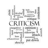 Criticism Word Cloud Concept in black and white — Stockfoto