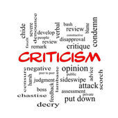 Criticism Word Cloud Concept in red caps — Stockfoto