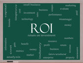 ROI Word Cloud Concept on a Blackboard — Stock Photo