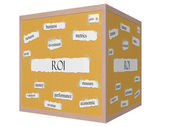 ROI 3D cube Corkboard Word Concept — Stock Photo