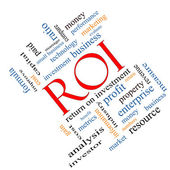 ROI Word Cloud Concept Angled — Stock Photo