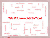 Telecommunication Word Cloud Concept on a Whiteboard — Photo