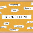 Bookkeeping Corkboard Word Concept — Stock Photo #42039665