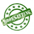 Green Weathered Bookkeeping Stamp Circles and Stars — Stock Photo #42039725