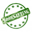 Green Weathered Bookkeeping Stamp Circle and Stars — Stock Photo #42039737