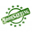 Green Weathered Bookkeeping Stamp Circle and Stars design — Stock Photo #42039749