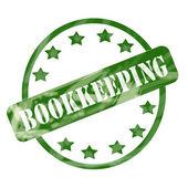 Zelená zvětralých účetnictví razítko kruh a hvězdy — Stock fotografie