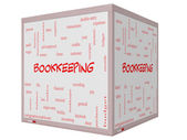 Bookkeeping Word Cloud Concept on a 3D cube Whiteboard — Stock Photo