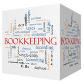 Bookkeeping 3D cube Word Cloud Concept — Stock Photo