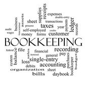 Bookkeeping Word Cloud Concept in black and white — Stock Photo