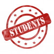 Red Weathered Students Stamp Circles and Stars — Stock Photo #42041337