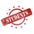 Red Weathered Students Stamp Circle and Stars design — Stock Photo #42041341