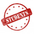 Red Weathered Students Stamp Circle and Stars — Stock Photo #42041355