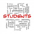 Stock Photo: Students Word Cloud Concept in red caps