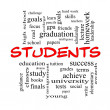Students Word Cloud Concept in red caps — Stock Photo #42041481