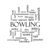 Bowling Word Cloud Concept in black and white — Stock Photo