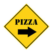 Pizza that way Sign — Stock Photo