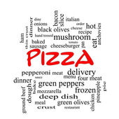 Pizza Word Cloud Concept in red caps — Stock Photo