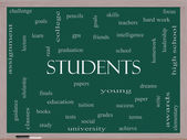 Students Word Cloud Concept on a Blackboard — Stock Photo