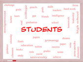 Students Word Cloud Concept on a Whiteboard — Stock Photo