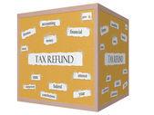 налоговый возврат 3d куб пробковой доске слово понятие — Стоковое фото