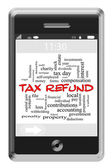 Tax Refund Word Cloud Concept on Touchscreen Phone — Stock Photo