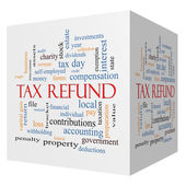 Tax Refund 3D cube Word Cloud Concept — Stock Photo