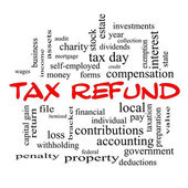 Tax Refund Word Cloud Concept in red caps — Stock Photo
