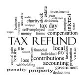 Tax Refund Word Cloud Concept in black and white — Stock Photo