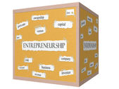 Entrepreneurship 3D cube Corkboard Word Concept — Stock Photo