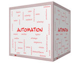 Automation Word Cloud Concept on a 3D cube Whiteboard — Stock Photo
