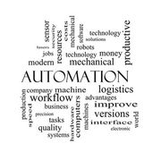 Automation Word Cloud Concept in black and white — Stock Photo