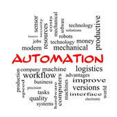 Automation Word Cloud Concept in red caps — Stock Photo