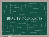 Beauty Products Word Cloud Concept on a Blackboard — Stock Photo