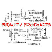 Beauty Products Word Cloud Concept in red caps — Stock Photo