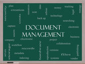 Document Management Word Cloud Concept on a Blackboard — Stock Photo