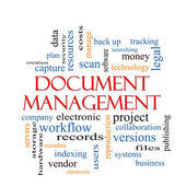 Document Management Word Cloud Concept — Stock Photo