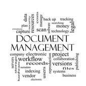 Document Management Word Cloud Concept in black and white — Stock Photo