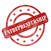 Red Weathered Entrepreneurship Stamp Circles and Stars — Stock Photo