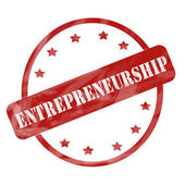 Red Weathered Entrepreneurship Stamp Circle and Stars — Stock Photo